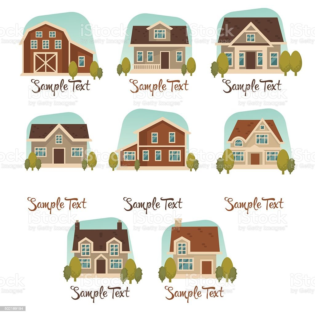 little cottage vector collection vector art illustration
