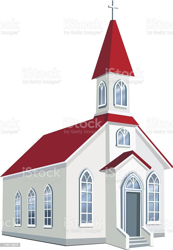 Little county Christian church vector art illustration