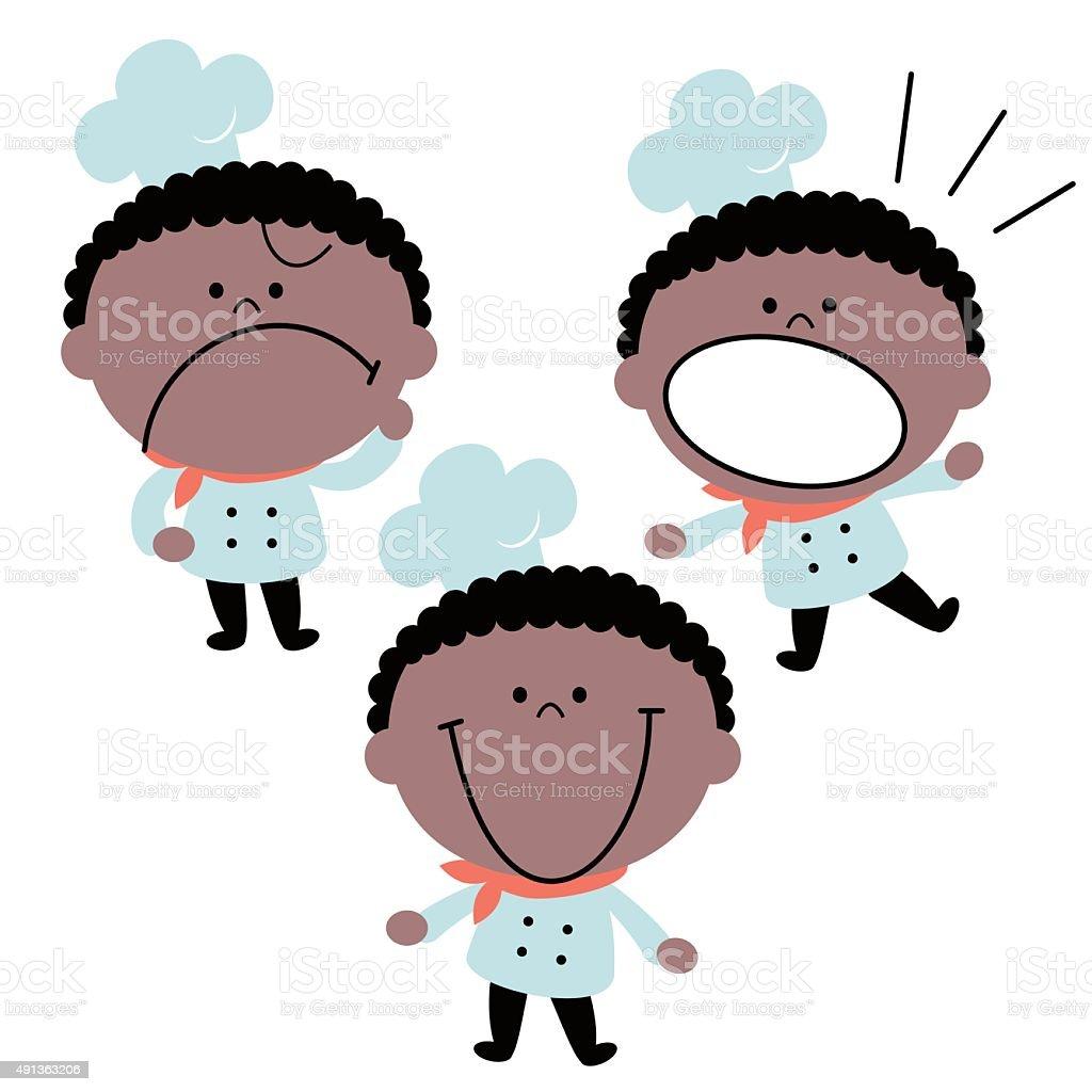 Little cute boy chef in uniform, emotion set, African Descent vector art illustration