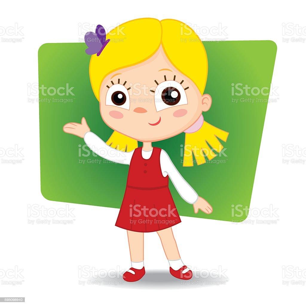 Little cute girl hand indicates. vector illustration royalty-free stock vector art