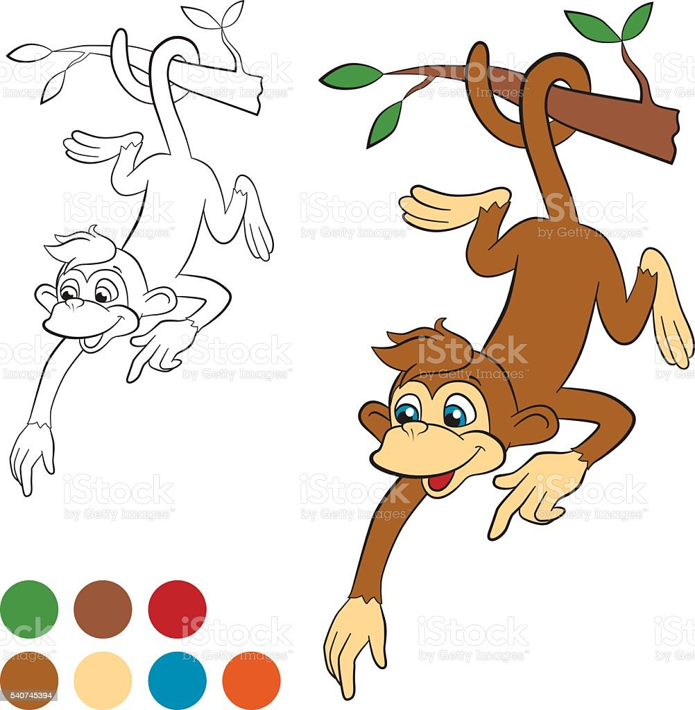 Little cute monkey hanging on the tree and pointing somewhere vector art illustration
