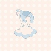 little cute pegasus in pastel colors on a background of