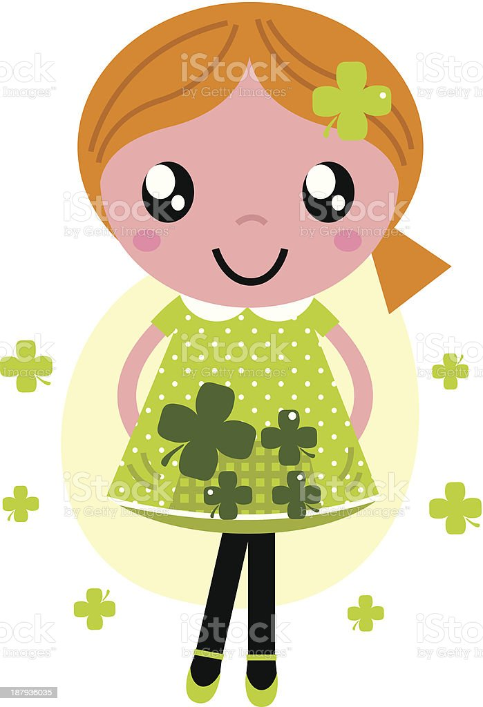 Little cute red hair girl for Saint Patrick's Day royalty-free stock vector art