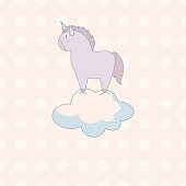 little cute unicorn in pastel colors on a background of