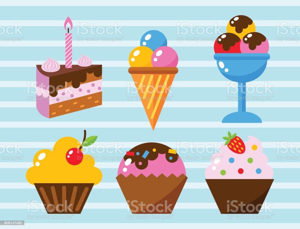 Little delicious cupcakes sweet dessert celebration birthday party food cream sprinkles frosting snack vector illustration vector art illustration