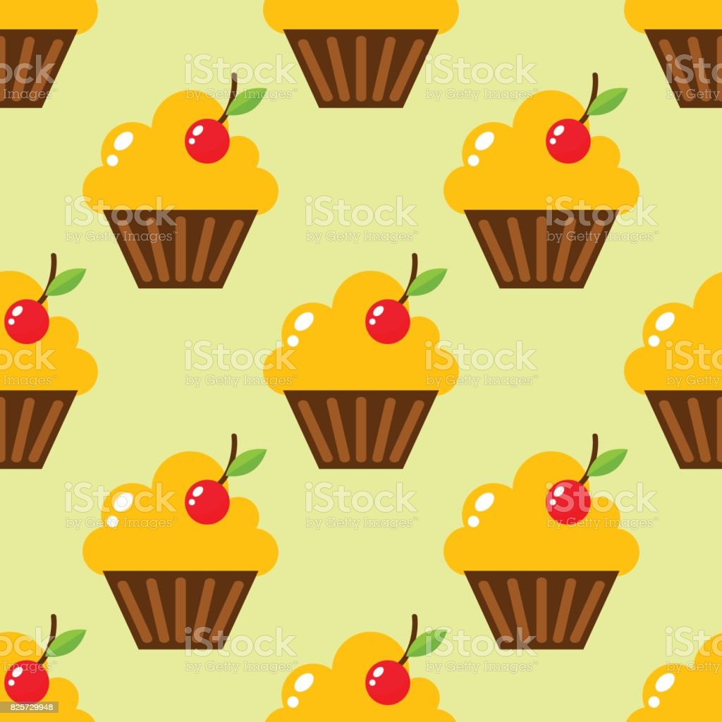 Little delicious cupcakes sweet dessert seamless pattern birthday party food cream sprinkles frosting snack vector illustration vector art illustration