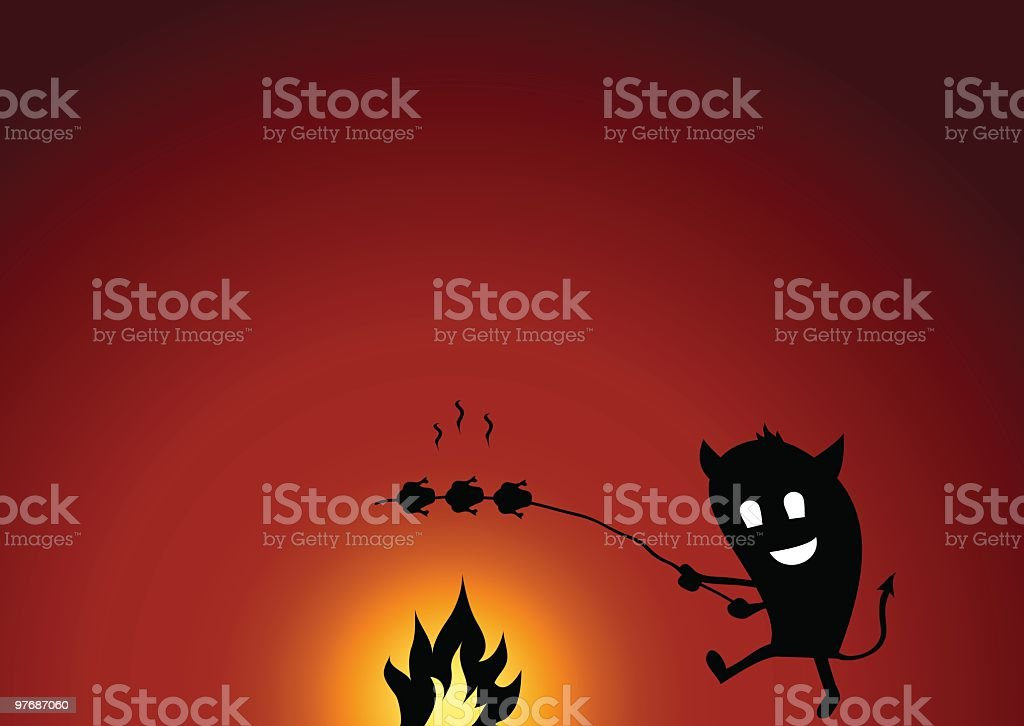 Little Devil Makes A Campfire And Grilling Chicken royalty-free stock vector art