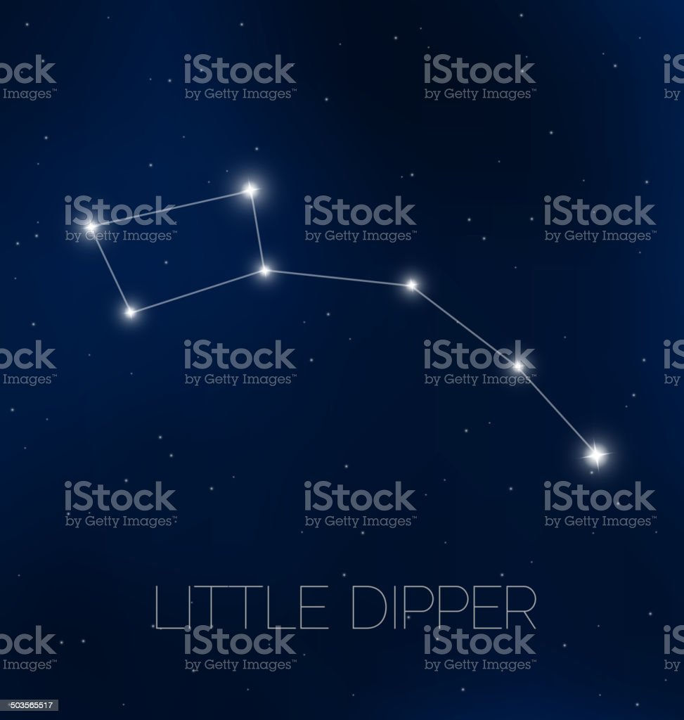 Little Dipper in night sky vector art illustration