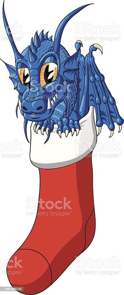 Little dragon in the Christmas stocking royalty-free stock vector art