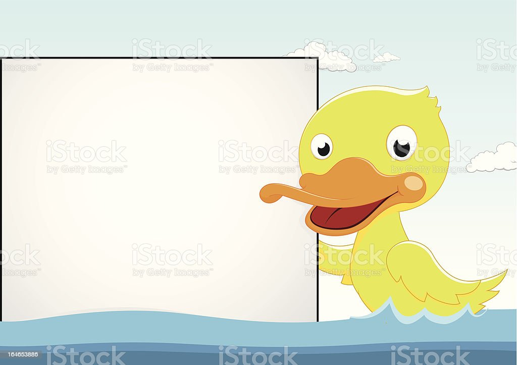 Little Duck With Blank sign royalty-free stock vector art