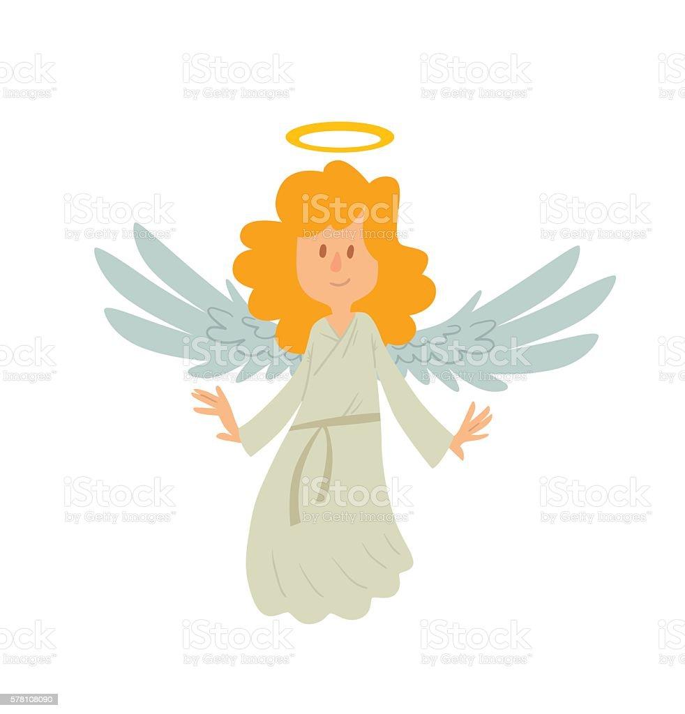 Little female angel is smiling vector art illustration