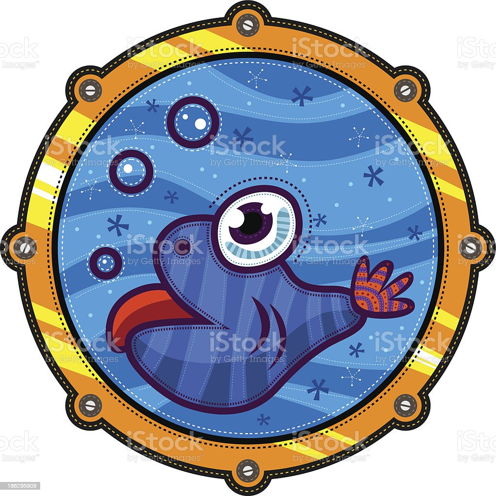 Little fish and porthole royalty-free stock vector art