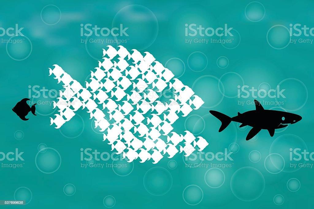 Little Fish Eat Big Fish vector art illustration