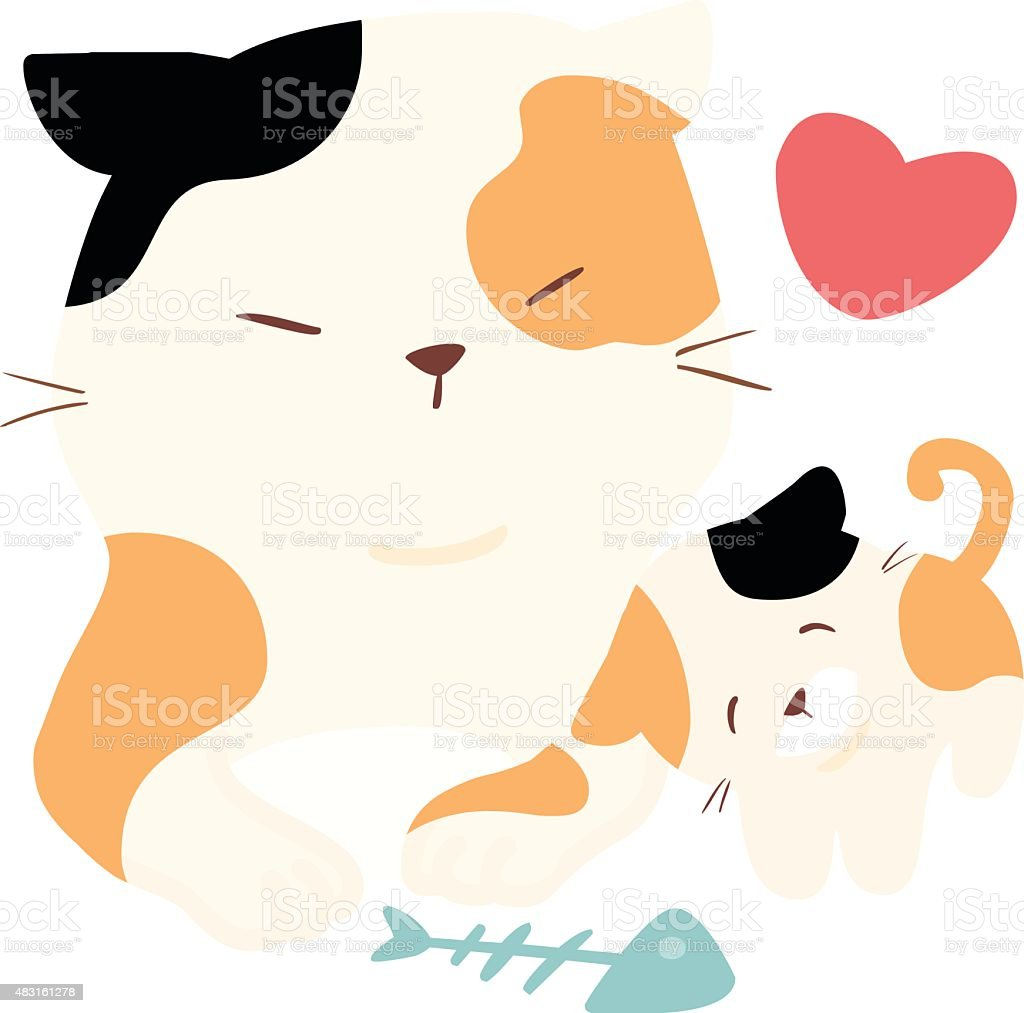 little fluffy cat love big cat vector vector art illustration