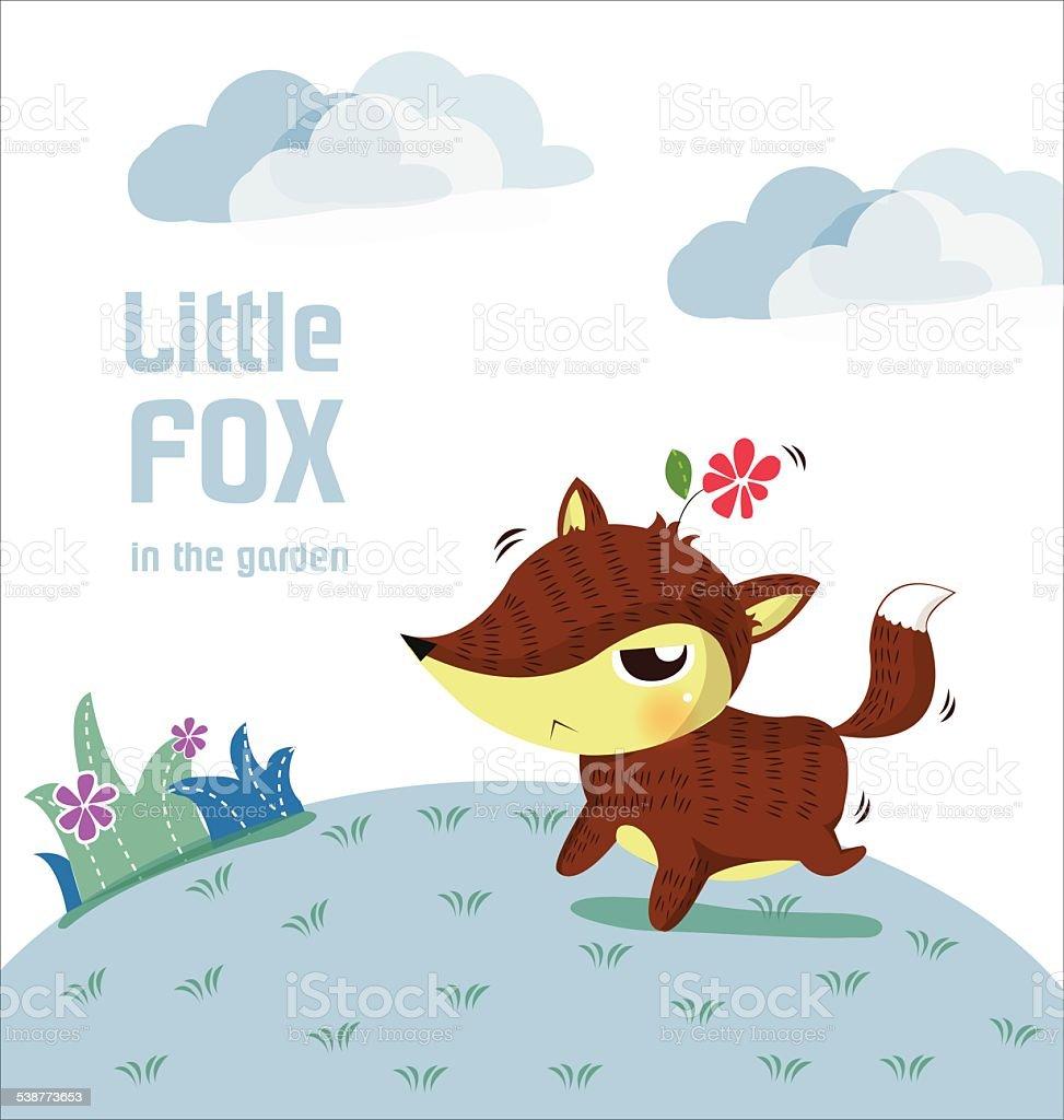 little fox in the garden vector art illustration