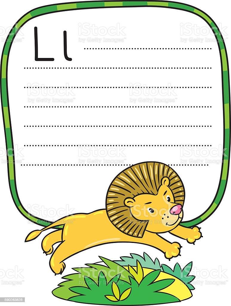 Little funny lion for ABC. Alphabet L vector art illustration