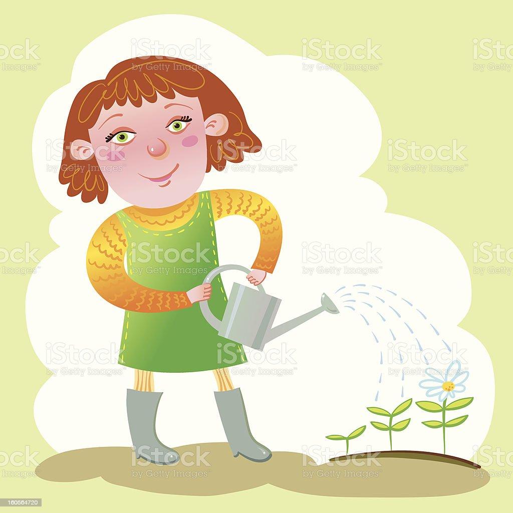 Little Gardener. royalty-free stock vector art