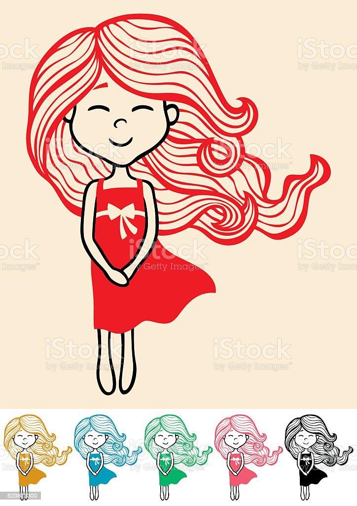 Little Girl 2 vector art illustration