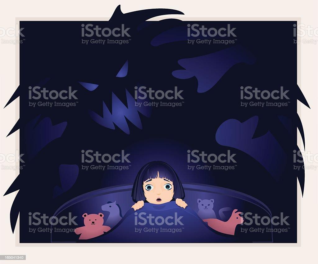 Little girl afraid of monsters in the dark. royalty-free stock vector art