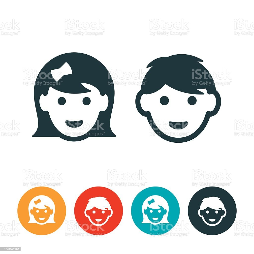 Little Girl and Boy Avatars vector art illustration