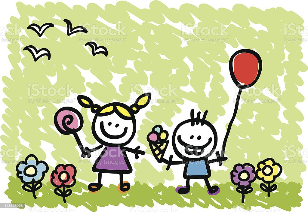 Little girl and boy doodle royalty-free stock vector art