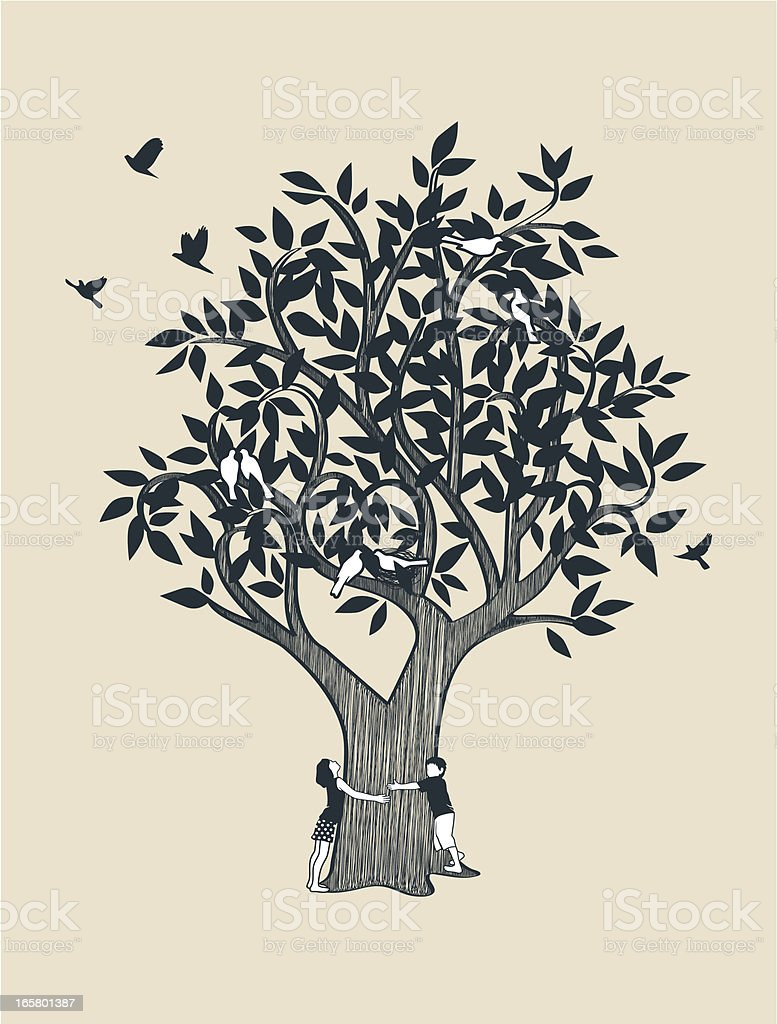 Little girl and boy hugging tree vector art illustration