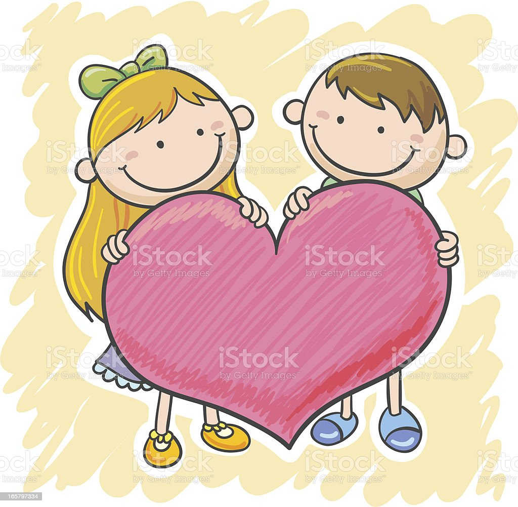 Little girl and boy with a big heart royalty-free stock vector art