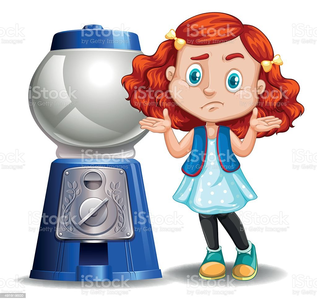 Little girl and empty candy machine vector art illustration