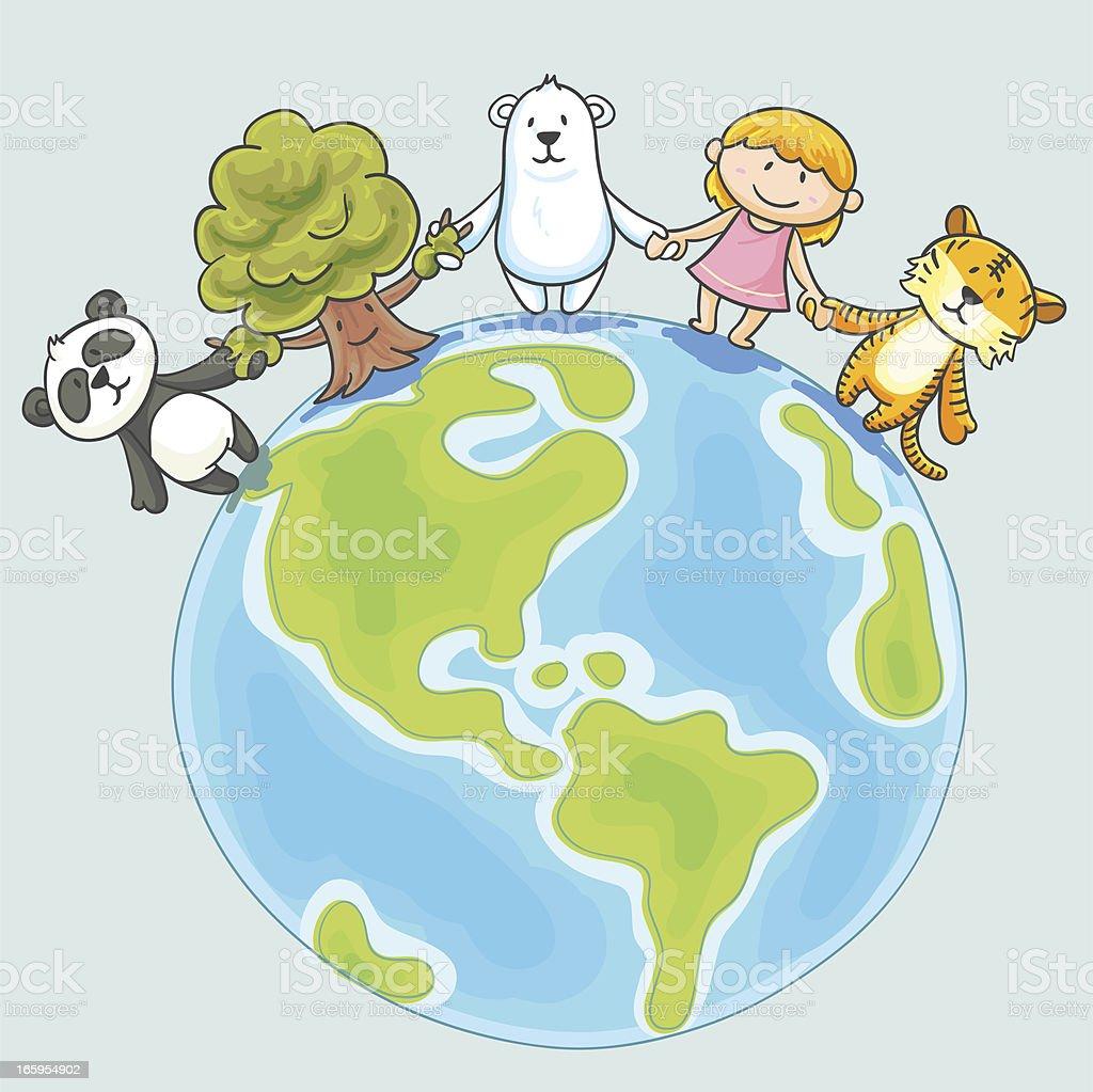 Little girl and endangered animals illustration vector art illustration