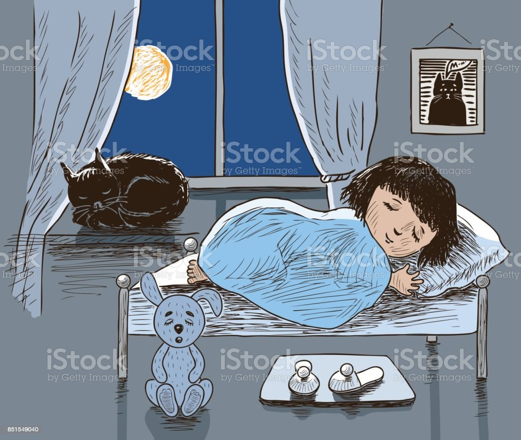 A little girl and her cat are sleeping vector art illustration