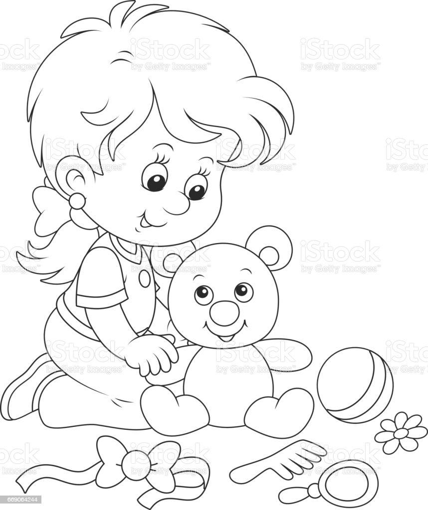Little girl and Teddy bear vector art illustration