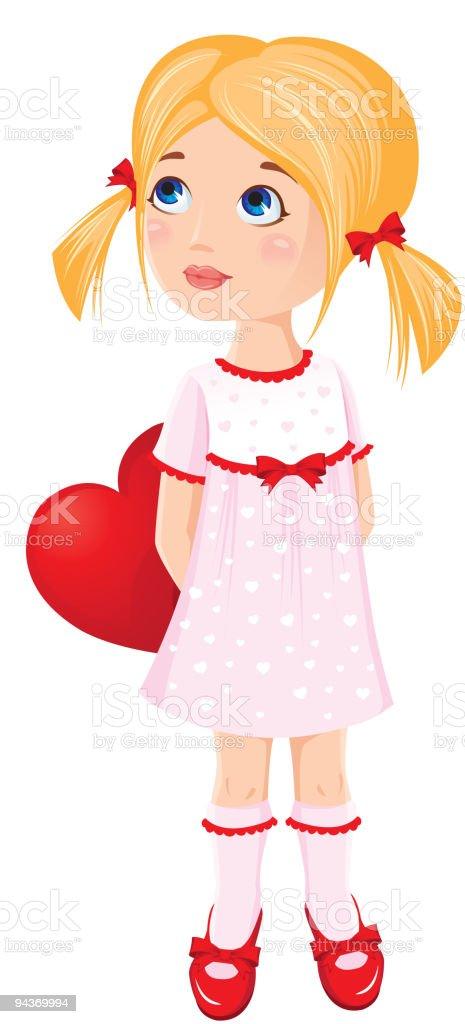 Little girl and valentine heart vector art illustration