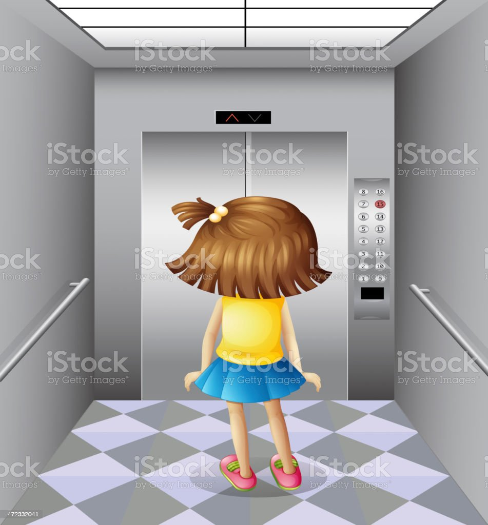 Little girl at the elevator royalty-free stock vector art