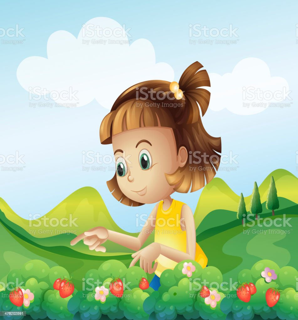 Little girl at the strawberry farm royalty-free stock vector art