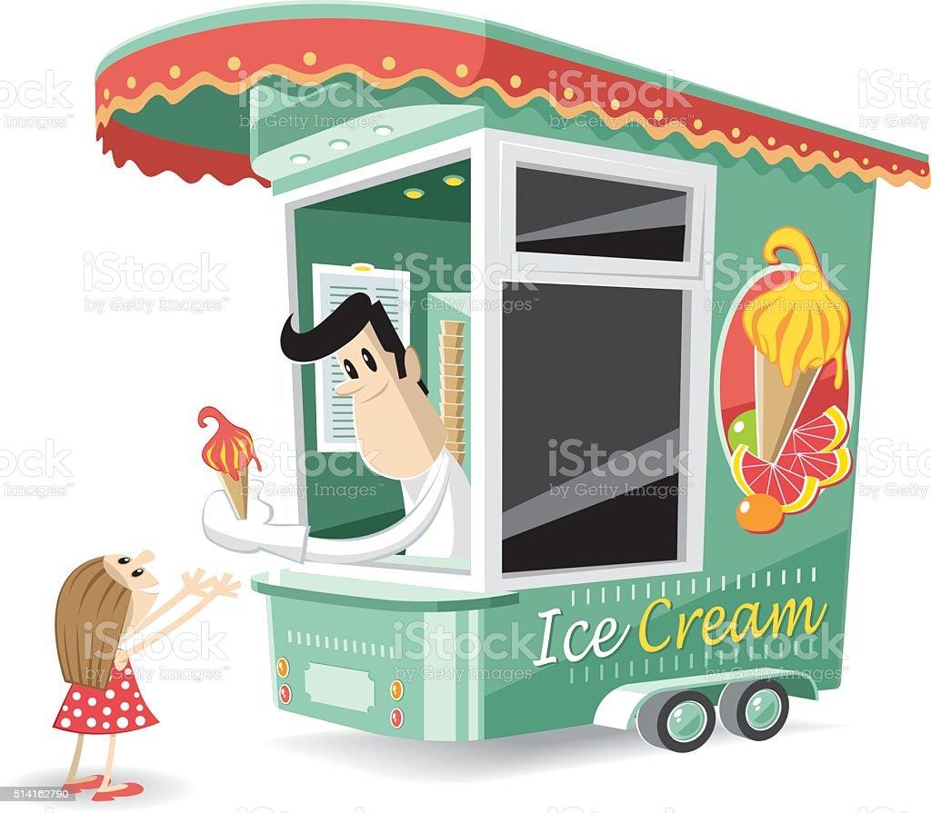 little girl buying her ice cream vector art illustration
