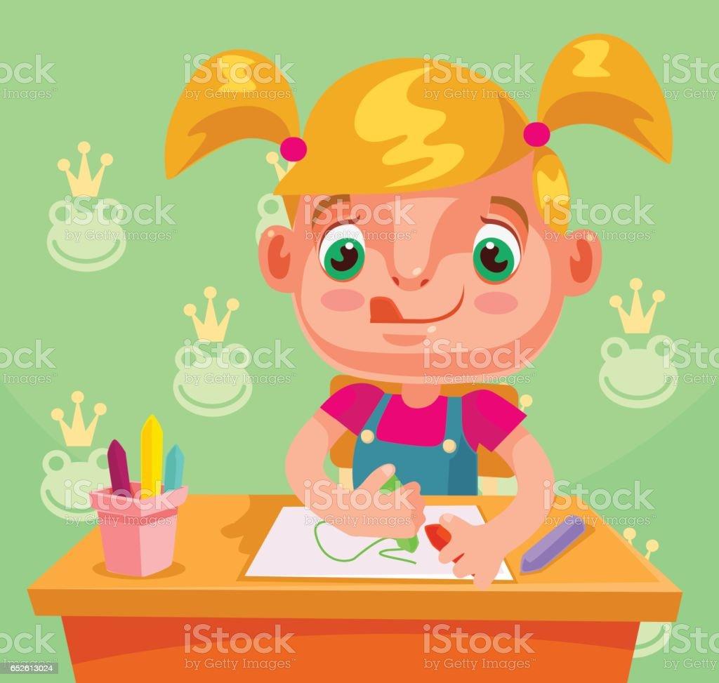 Little girl character draws picture and do homework vector art illustration