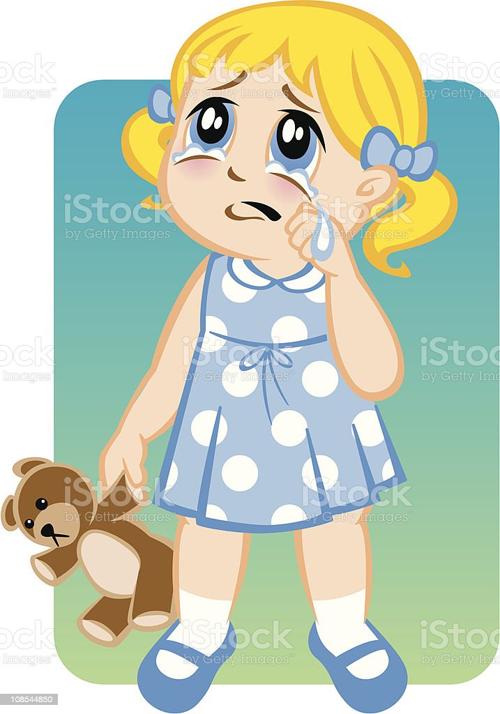 Little Girl Crying royalty-free stock vector art