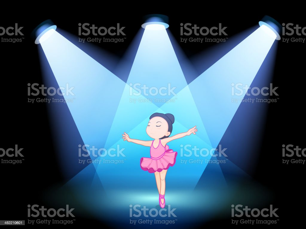 Little girl dancing ballet with spotlights royalty-free stock vector art