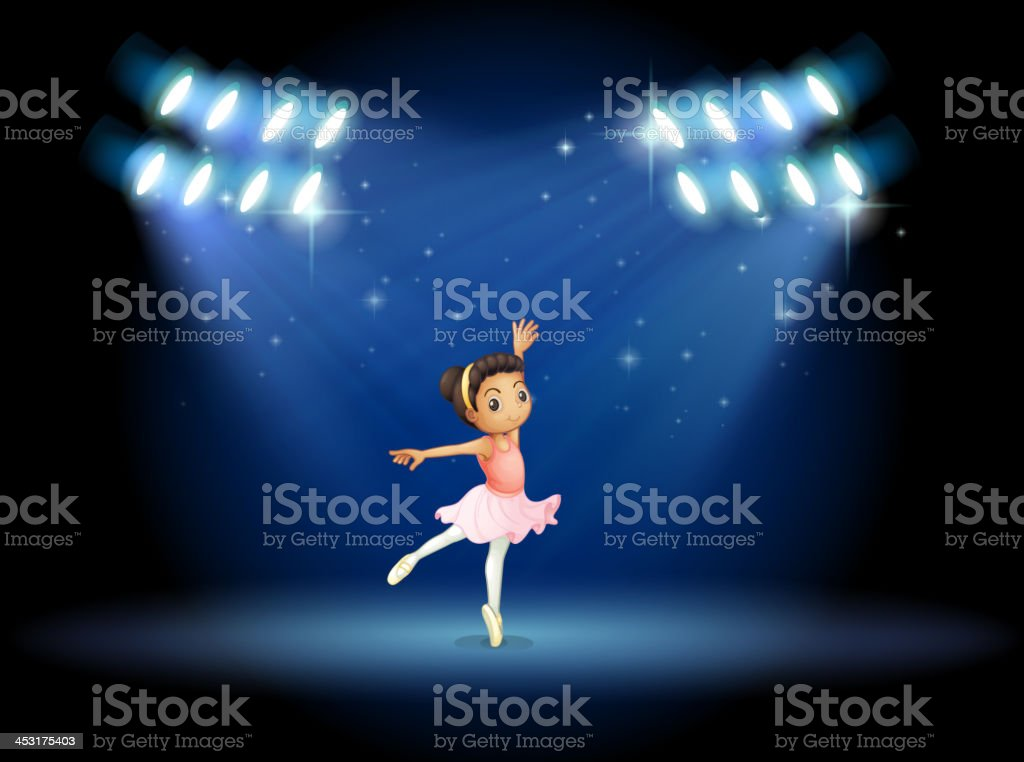 little girl dancing ballet with spotlights royalty-free stock vector art
