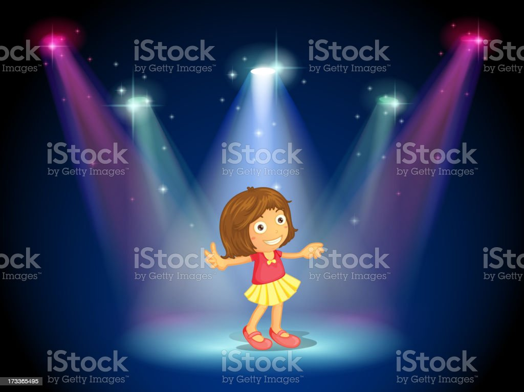 little girl dancing in the middle of stage with spotlights royalty-free stock vector art
