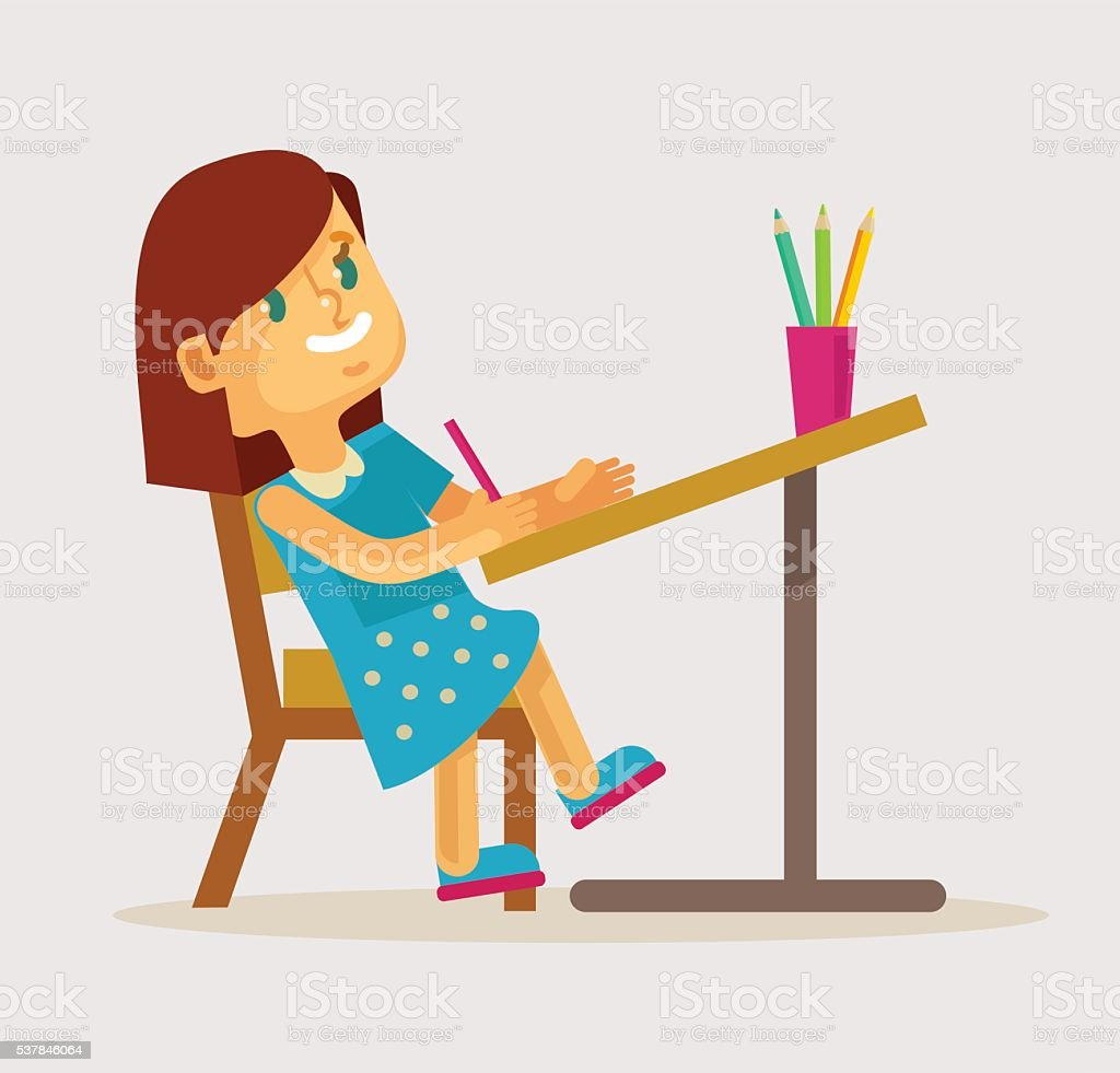 Little girl drawing. Vector flat cartoon illustration vector art illustration