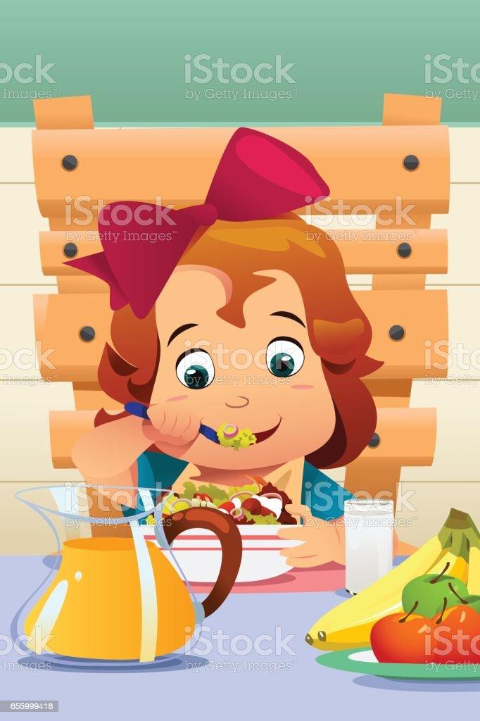 Little Girl Eating Salad Vegetables vector art illustration