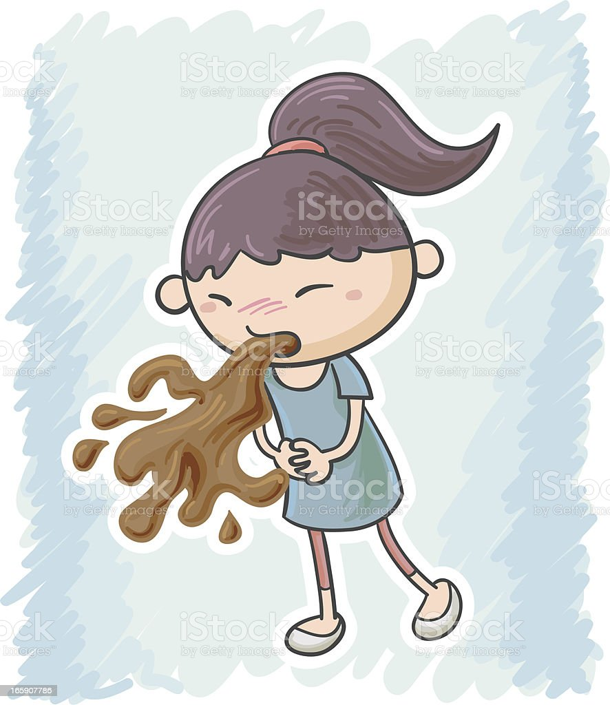 Little girl feels sick and vomit royalty-free stock vector art