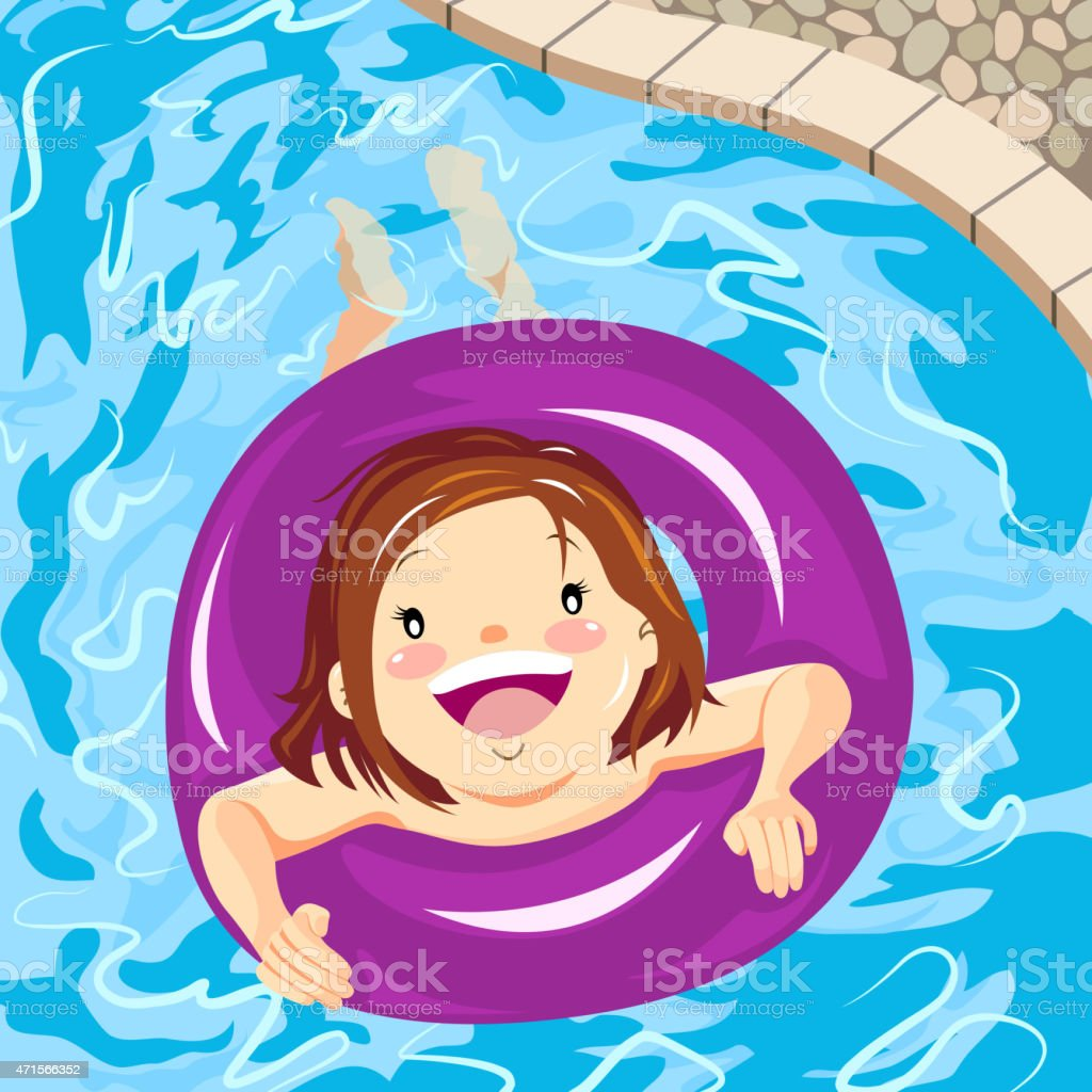 Little girl floating on swimming pool vector art illustration