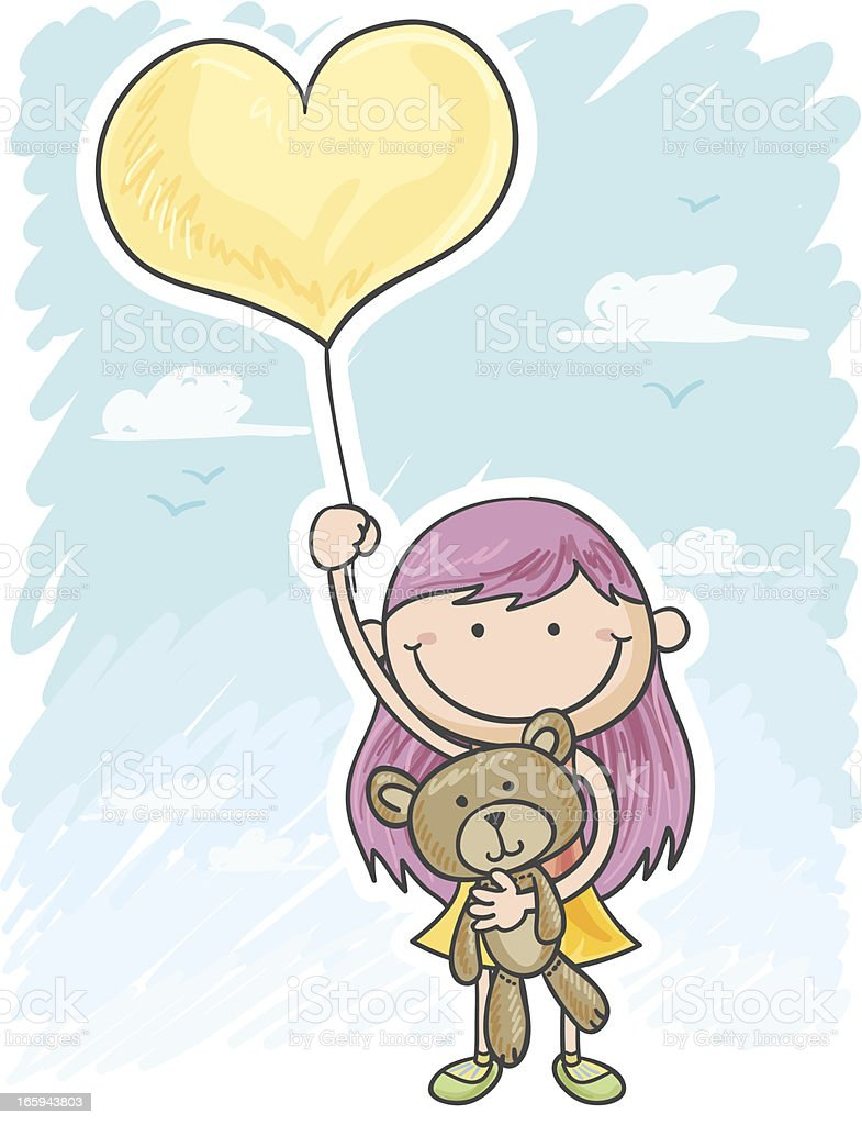 Little girl flying with the balloon royalty-free stock vector art