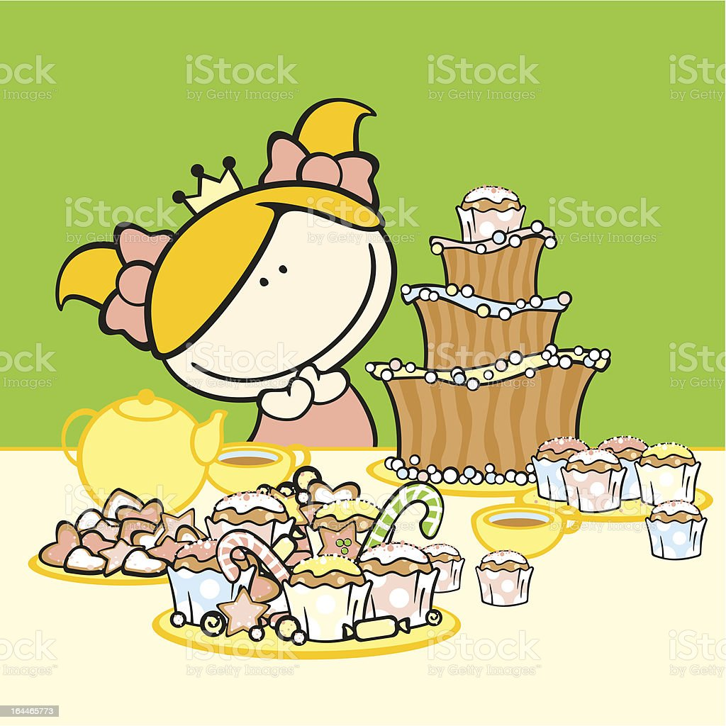 A little girl having a princess party alone royalty-free stock vector art