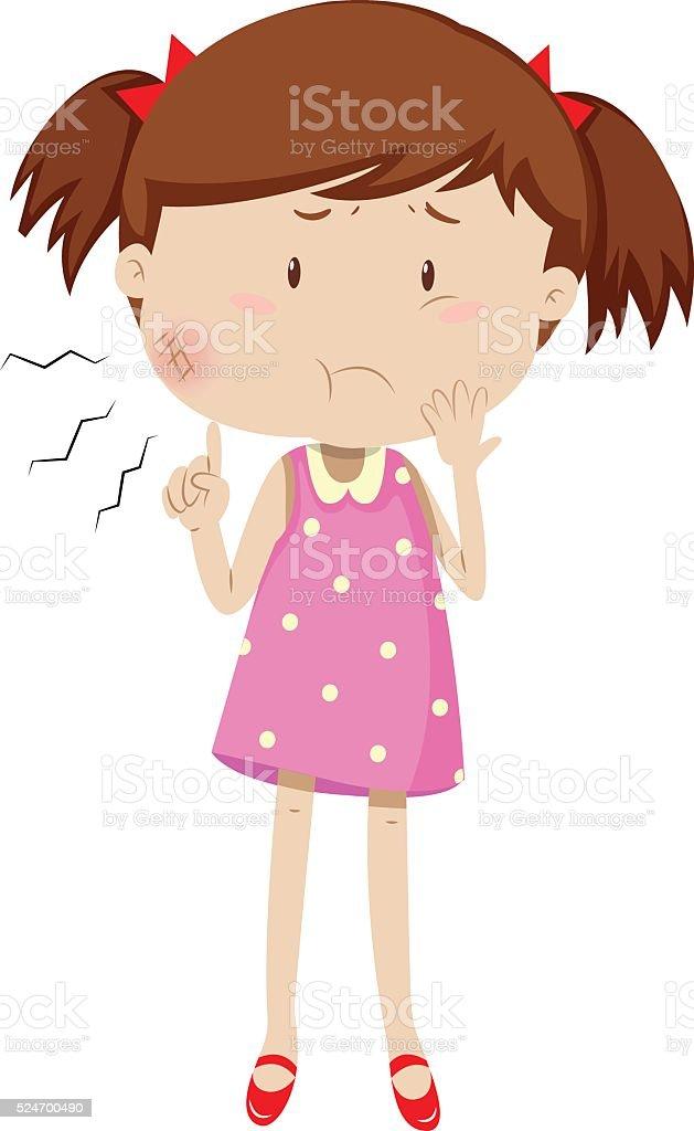 Little girl having mumps vector art illustration