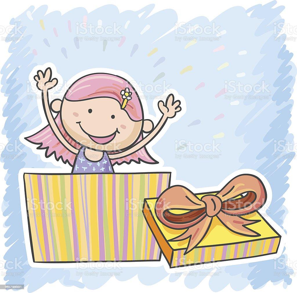Little girl hiding inside a box royalty-free stock vector art