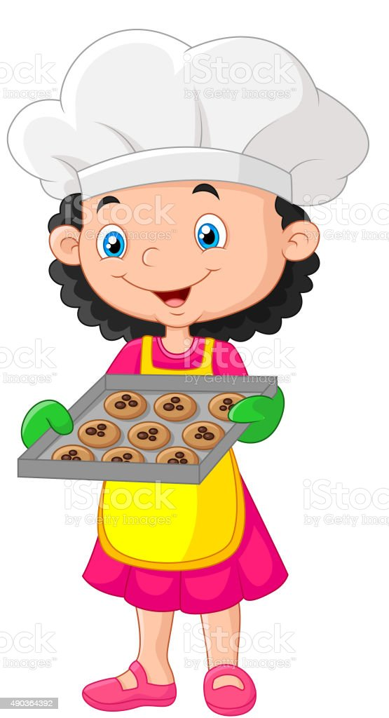 Little girl holding baking tray with baking ready to eat vector art illustration