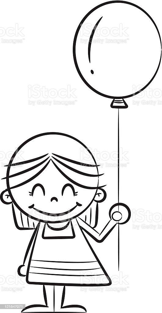little girl holding balloon royalty-free stock vector art